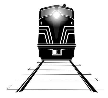 mountain pass: black silhouette of a diesel locomotive moving along the rails Illustration