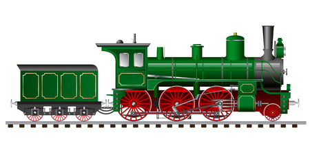 steam locomotive: green steam locomotive with tender and carriage