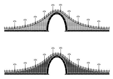 stone arch: an ancient stone arch bridge with lantern