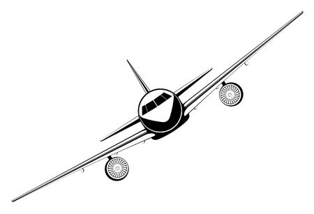 aircraft take off: black outline jet passenger aircraft take off