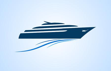 eenvoudig en duidelijk logo snelheid jacht naar de zee