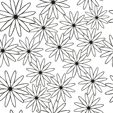 Silhouettes of daisies in black as a seamless square background