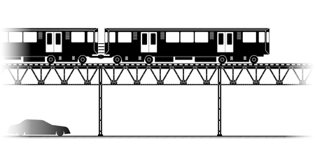 elevated: The silhouette of Elevated Train  in Chicago