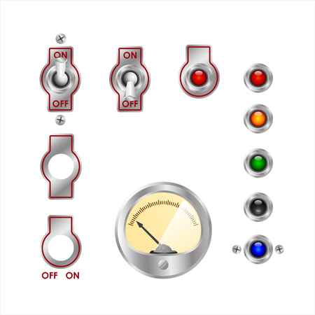 switches: electrical switches, readings of devices and colored lights Illustration
