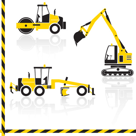 graders: Vector yellow transportation icon set with reflection. Tractors