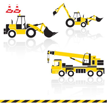 compact track loader: Vector yellow transportation icon set with reflection. Tractors