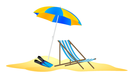 parasol: parasol, chaise and flippers in the beach