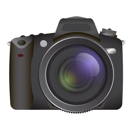 slr camera: Black Professional SLR camera, photocameraon white background