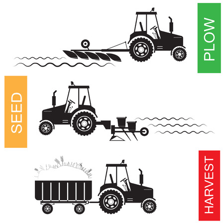 plough machine: Crop growing and harvesting of agriculture - vector illustration