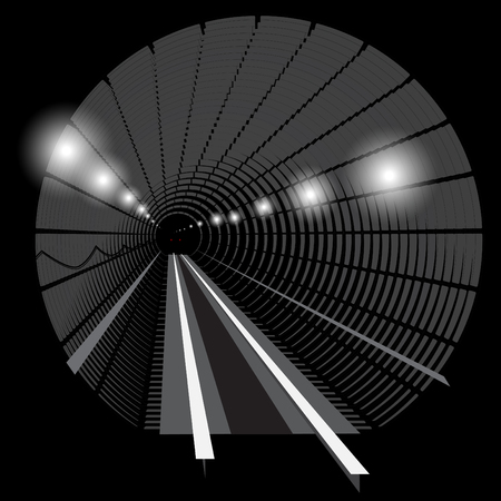 railway track: Subway underground train with lights on the railway track in the tunnel. Black and white.