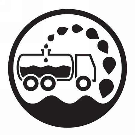 sewage: car vacuum sewage treatment and sewage. Black and white. Illustration