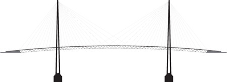 black and white profile cable - stayed bridge