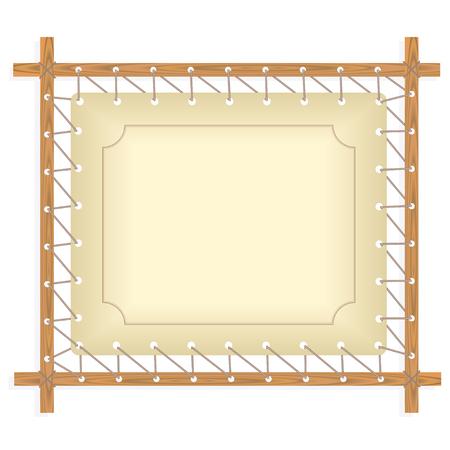 crude: Wooden frame hanging on crude rope, vector illustration