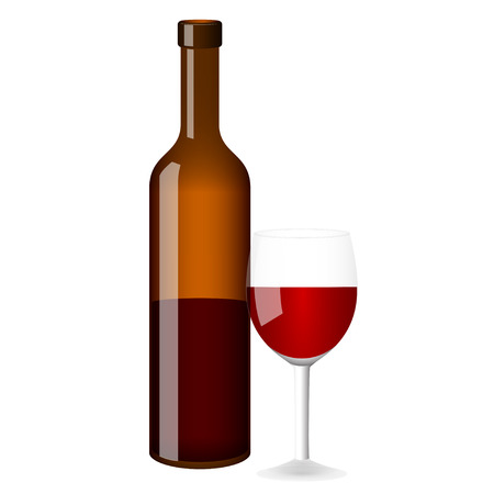 botle: Red wine vector bottle and glass on white background