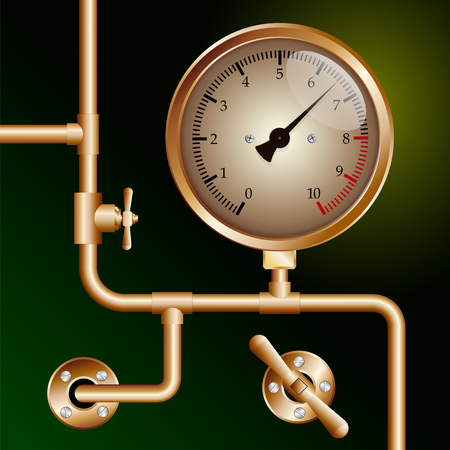 steam traction: steam powered traction engine boiler pressure gauge on green background