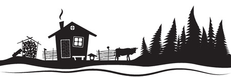 tree line: Beautiful sketch with beautiful house and spruce. Hand drawn sketch. Stylish vector illustration