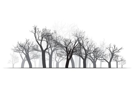 vealy: Wide Forest Background - vector illustration. Black on white