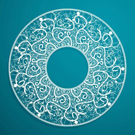 azure: Deco Black Mandala, Patterned Design Element, Ethnic Amulet. Henna azure line. Frame
