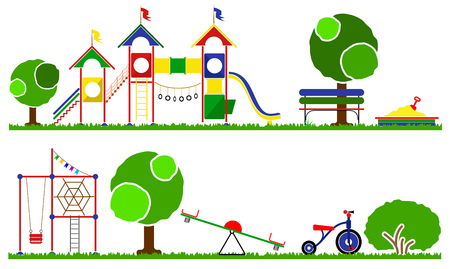 the children s: Kids playground color set. Icons with kids swings and objects. Swings, roundabouts trees and the children s playground grass.
