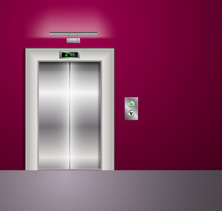 metal doors: Open and Closed Modern Metal Elevator Doors. Hall Interior in vinous Colors. Wall lamp and light