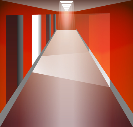 corridor: Red Corridor and doors. Light at the end. The light from the doorway. Fixtures. There is an exit. Illustration