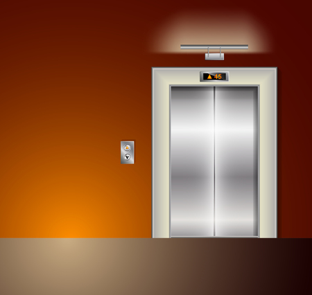 metal doors: Open and Closed Modern Metal Elevator Doors. Hall Interior in orange Colors. Wall lamp and light Illustration