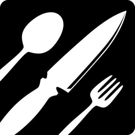 tablespoon: Fork, knife, tablespoon sign icon. Flat dark design