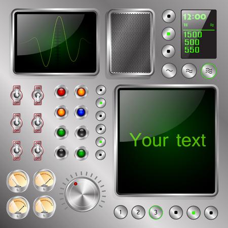 スイッチとインジケーターのテキスト フレームと画面を備えた奇妙な電子装置  イラスト・ベクター素材
