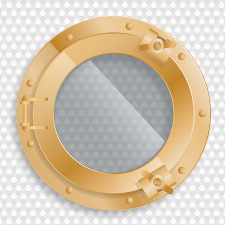 antique brass porthole on a transparent background with glass Illustration