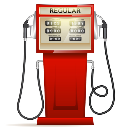 petrol station: red petrol station with hoses and boards in USA