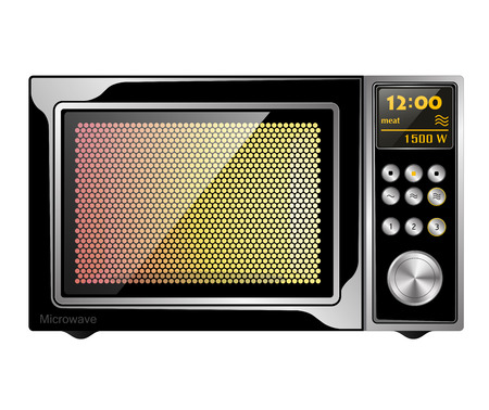 enabled: Image quality black enabled microwave oven with electronic control. Isolated. Illustration