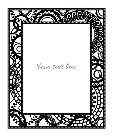Steampunk style. Template steampunk design for card. Frame for your text
