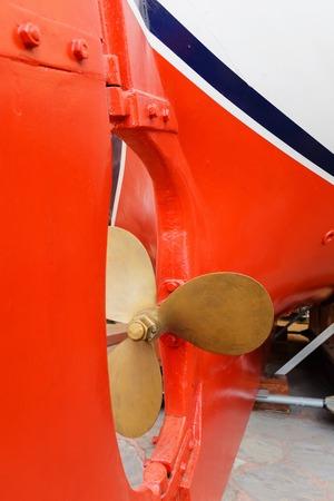 rudder ship: old Propeller and rudder ship in dry dock.