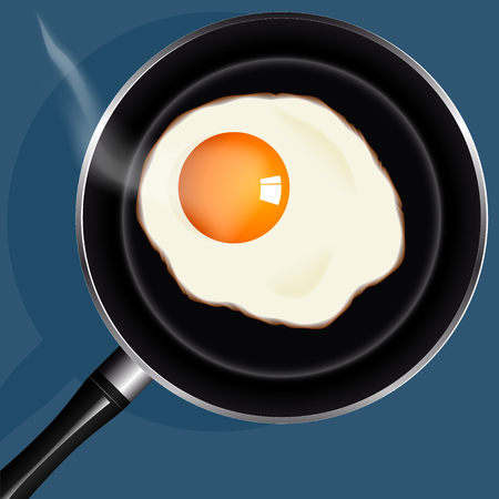 sunny side up eggs from one egg fried in a pan Stock Illustratie