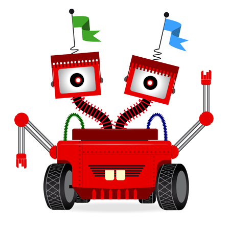 Vector illustration with cute cartoon redrobot. on white background.