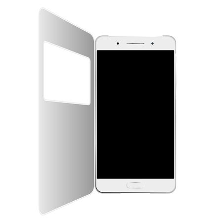 window case: White smartphone in case with window, isolated on white