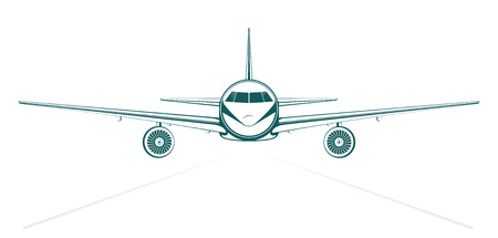 Airplane. plain blue painted outline passenger jet from the front.