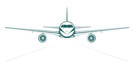 Avion. bleu uni peint jet de l'avant plan de passagers. Vecteurs