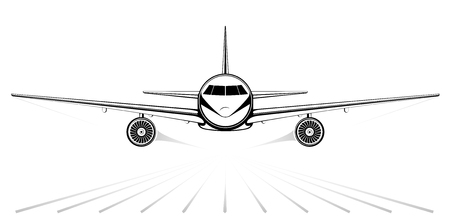 exhaust gases: Airplane. The black silhouette of a jet airliner coming in to land on the background of white sky. Exhaust gases and runway Illustration