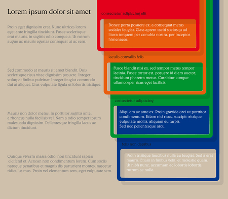 text room: Infographics. Four consecutive frame elements of different colors with lots of room for text and descriptions.