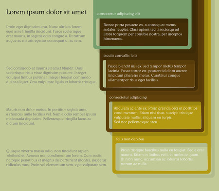 consecutive: Infographics. Four consecutive frame elements of different colors with lots of room for text and descriptions.