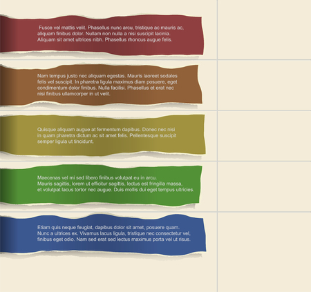 consecutive: Infographics. Four consecutive torn paper of different colors with lots of room for text and descriptions.