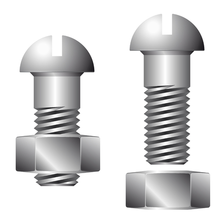 brink: Screw with nut isolated on white background. 3d render