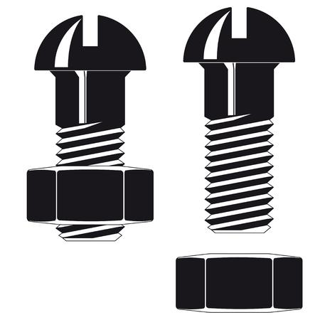 Zwarte Schroef met moer op een witte achtergrond. Vector Illustratie