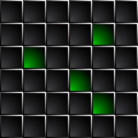 technological: Industrial and technological dark background polished black squares. Green lights some figures.