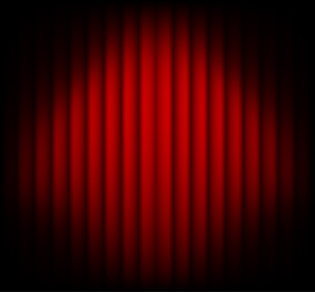 red curtain: Red curtain on theater or cinema stags. Darkening at the edges Illustration