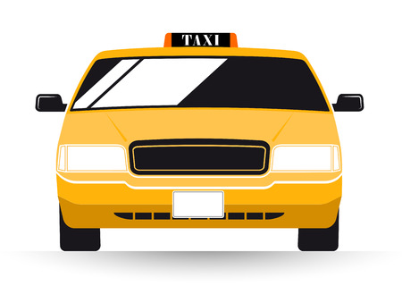 busy city: New York Yellow Taxi Cab on white background Illustration
