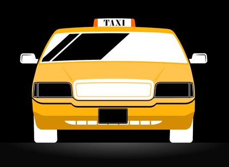 new cab: New York Yellow Taxi Cab on black background