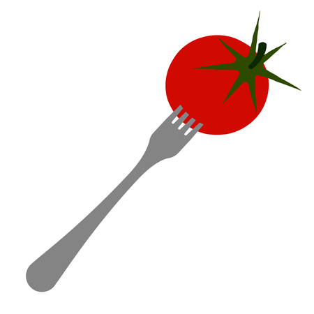 Ripe and round tomatoes planted on a fork. Location diagonally.