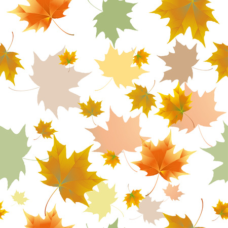 disheartened: Seamless background pattern of autumn leaves. Falling Leaves